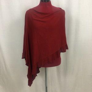 BCBG MazAzria Silk and Cotton Red Poncho One Size